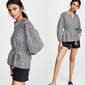 NEVER WORN Madewell gingham embroidered top